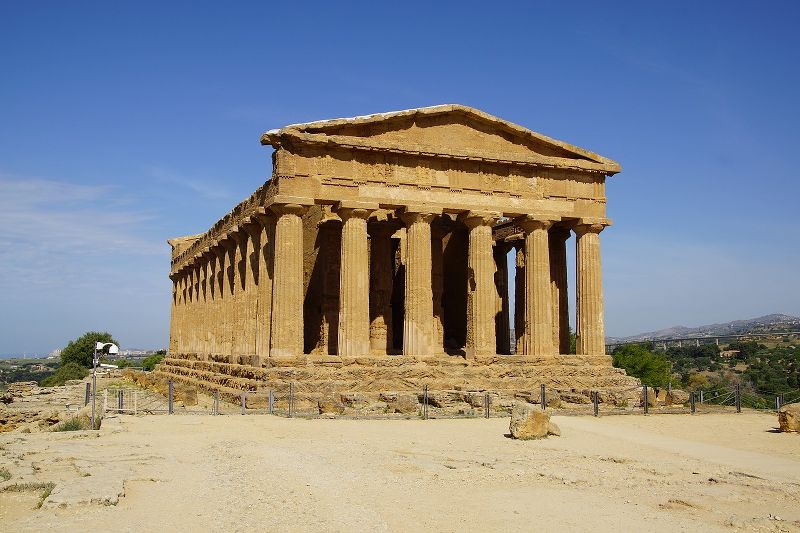 Il tempio della Concordia situato nella Valle dei Templi di Agrigento